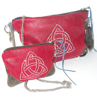Ready for Christmas // Red Leather Set Zipper Clutch Bag & Coin Purse // Celtic Trinity Triquetra Studded Embellishment