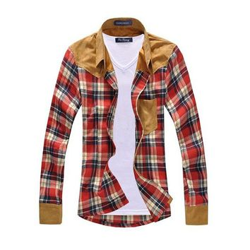 Men Shirt Vintage Hot-selling Men's Fashion Plaid Splicing Shirt Male Casual Long-sleeved Shirt High Quality