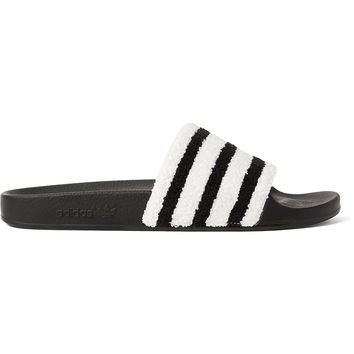adidas Originals - Adilette Striped Terry and Rubber Slides