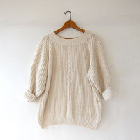vintage natural white sweater. slouchy sweater. cable knit. silk & rayon loose knit sweater.