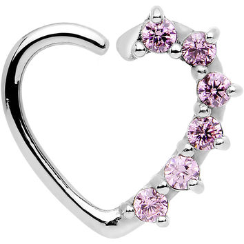 16 Gauge Pink CZ  Heart Left Closure Daith Cartilage Tragus Earring