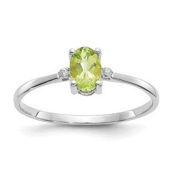 14k or 10k White Gold Diamond & Peridot August Birthstone Ring