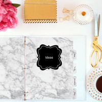 Planner Dividers - Letter (8.5x11 inches) - Marble Printable Dividers - Printable Tabs - Personalized Dividers - Instant Download