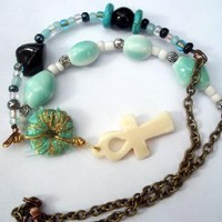 Pentacle Mermaid Bracelet in Sea Foam Green w Jade & Shells Charms Wicca