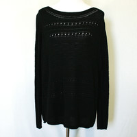 Black loose knit chunky sweater