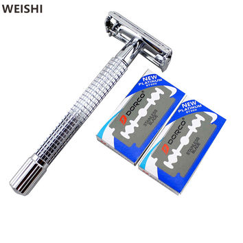 WEISHI 9306FL 11.2cm Long Handle Chrome Silver plated Double Edge Safety Razor
