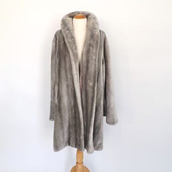 Vintage 1950s 60s Faux Fur Coat Silver Gray Fur Coat Winter Coat Princeton's Mutation Animal Fur Swing Coat Cruella Deville 30s 40s Glamour