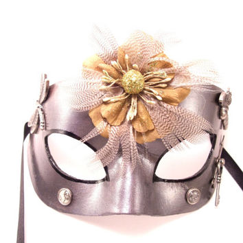 Silver Leather Steampunk Mask!  All handmade!