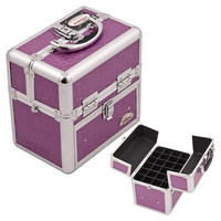 Sunrise Purple Square Textured Aluminum Portable Cosmetic Makeup Nail Case Accessories with Foundation Holder And Drawer