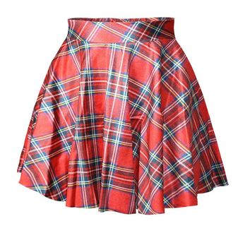Casual Elastic Waist Classic Plaid Pretty Flared Mini Skirt