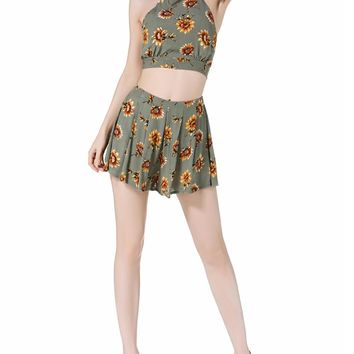 Green Sunflower Print Cross Strappy Back Crop Top And Culotte Shorts