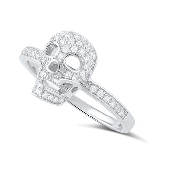 Sterling Silver Micro Pave Cz Skull Ring