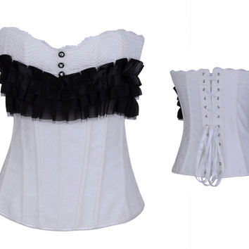 White Corset Ruffled With Button