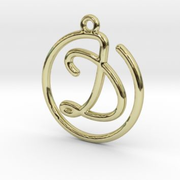 D Script Monogram Pendant by Jilub on Shapeways
