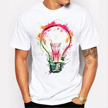 New Color Painted Bulb Design Men's T shirt Cool Fashion Tops Short Sleeve Tees