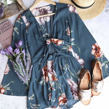 a love like this romper - floral hunter green