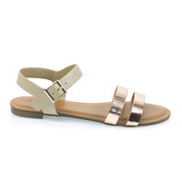 Inspire49M by Bamboo, Rose Gold Women Flat Sandal w Double Front Strap & Ankle Strap