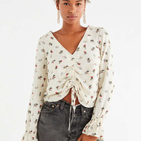 UO Deep V Cinched Floral Shirt | Urban Outfitters