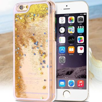 Golden Glow & Sparkles Glow-In-The Dark iPhone Case W/ Stars