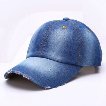 Trendy Winter Jacket RONGZ003 Outdoor Men And Women Blue Denim Fitted Baseball Caps Blank Washed Cotton Casual Snapback Hats Bone Casquette Ripped AT_92_12