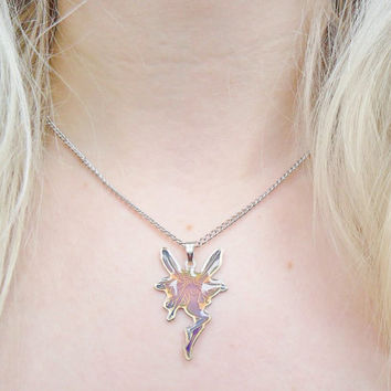 Mood Color Colour Change Changing Fairy Magical Fae Kei Nature 90s Pendant Silver Necklace Jewellery Jewelry
