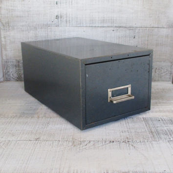 Metal Box Industrial Box Metal File Cabinet Steelmaster Industrial Storage Metal Box with Sliding Divider Vintage Office Stackable Storage
