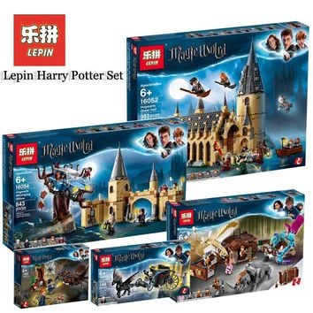 Lepin Harry Movie Potter Sets 16052 16054 16058 16030 Compatible Legoing Model Building Kits Castle Hall Blocks Bricks Toys Gift