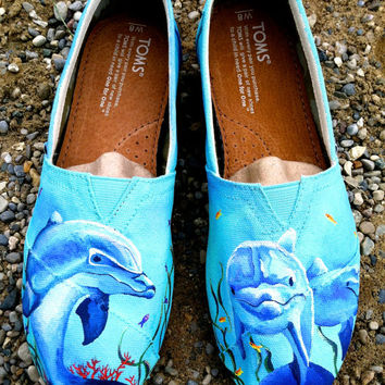 Made to Order Custom Painted TOMS Dolphin Shoes