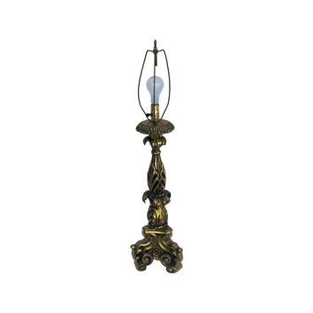 Pre-owned 1940s Monumental Solid Brass Table Lamp