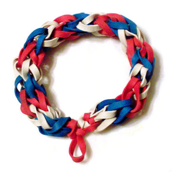 Red White and Blue Rubber Band Bracelet - Patriotic Colors, Chicago Cubs, Boston Red Sox, MLB Sports Bracelet