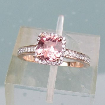 Peach Pink Sapphire Engagement Ring in 14k Rose Gold Diamond Halo May Birthstone Gemstone Ring