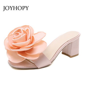 JOYHOPY 2017 Peep Toe High Heels Women Summer Sandals Casual Shoes Flower Woman Slip On Mules Pumps Slik Female Shoes WS1643