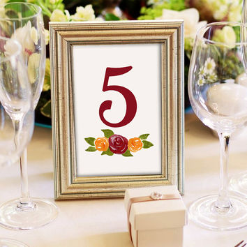 "Watercolor Wedding Table Number - Rustic Wedding Reception Table Number Cards Fall ""Rustic Roses"" Bridal Shower Table Number Watercolor Rose"