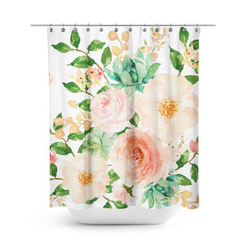 Floral Aztec Peach Shower Curtain