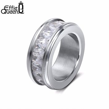 Effie Queen Classic Lover Eternal Wedding Band Engagement Ring with Cubic Zirconia Stainless Steel Rings for Women Jewelry IR48