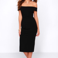 LULUS Exclusive Night and Day Black Off-the-Shoulder Midi Dress