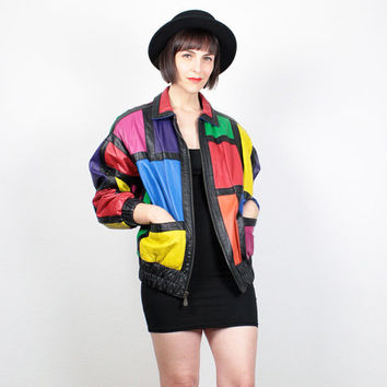 Vintage Leather Jacket 1980s COLOR BLOCK Rainbow Black Leather Bomber Jacket 80s Leather Coat New Wave Patchwork Mod Mondrian M Medium L