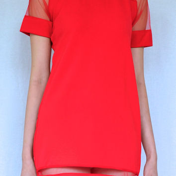 RED WATERMELON MINI MESH DRESS
