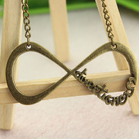 one direction necklace--infinity charm necklace,antique bronze pendant,alloy chain