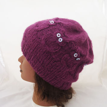 Handknitted Owl Hat, Cable Beanie Hat, Women Owl Cranberry Hat, Knitted Owl Hat