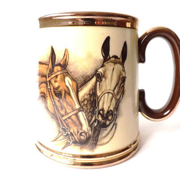 Vintage Horse Lovers Gift, Equestrian, Large Coffee Cup, Riders, 1 pint Ale Mug, Beer Tankard, Fathers Day, Gibsons, Horse Decor