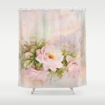delicate vintage rose Shower Curtain by Clemm
