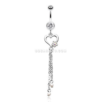 Sweet Heart and Flower Belly Button Ring (Clear)