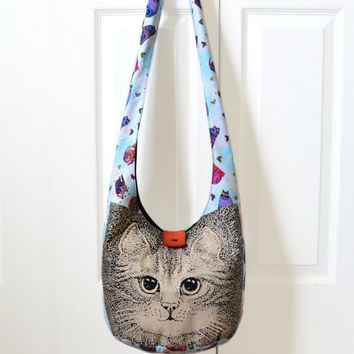 Hobo Bag, Sling Bag, Cats, Cat Lovers, Hippie Purse, Crossbody Bag