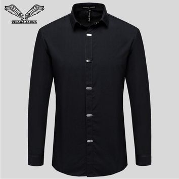 Men's Shirts 2017 Autumn New Arrival British Style Casual Long Sleeve Solid Male Business Slim Fit Shirt 4XL N511