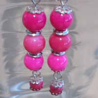Hot Pink Glass Bead & Silver Dangle Earrings, Handmade, Fashion Jewelry, Ladies Gift, Simple Elegance, Classic Style, Long Dangles, Sparkle
