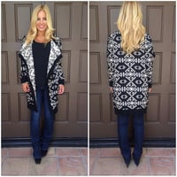 El Segundo Tribal Knit Cardigan - BLACK