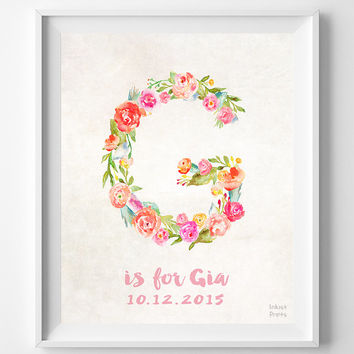 Personalized, Print, Gia, Custom Name, Nursery Art, Grace, Gloria, Gabrielle, Gina, Gracie, Gwen, Gift, G, Baby, Initial, Girl
