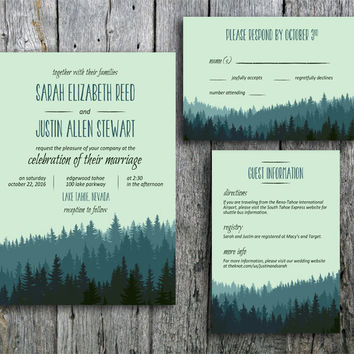 Rustic Wedding Invitation in the Mountains - Printable Wedding Invitation, RSVP and Guest Information Card