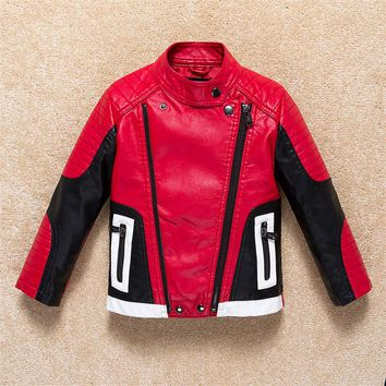 Boy Winter Fashion kids Leather Jacket